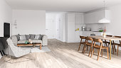 Bright modern interior. Render image.