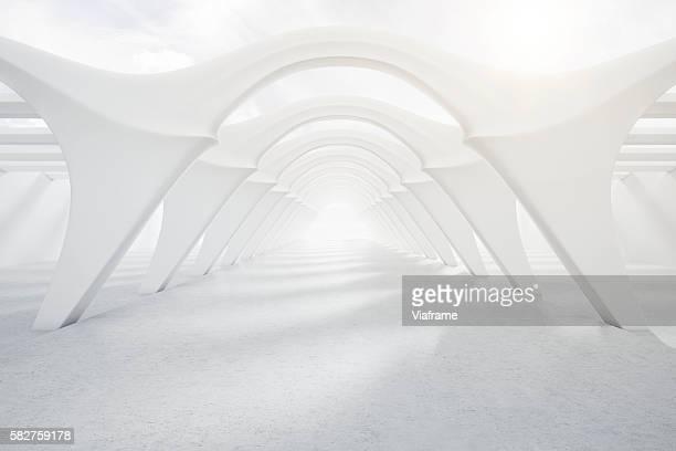 Bright, modern white tunnel
