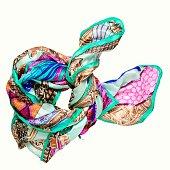 bright multicolored silk neckerchief isolated on white background