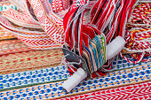 Bright multi-colored tapes for crafts. Ethnic Slavic belt for clothes