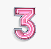 Bright Neon Font with fluorescent pink tubes. Number 3. Night Show Alphabet. 3d Rendering Isolated on White Background.