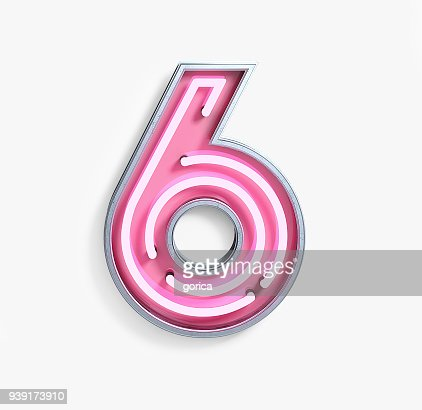 Bright Neon Font. Number 6 : Stock Photo