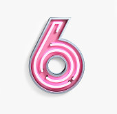 Bright Neon Font with fluorescent pink tubes. Number 6. Night Show Alphabet. 3d Rendering Isolated on White Background.
