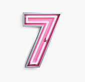 Bright Neon Font with fluorescent pink tubes. Number 7. Night Show Alphabet. 3d Rendering Isolated on White Background.