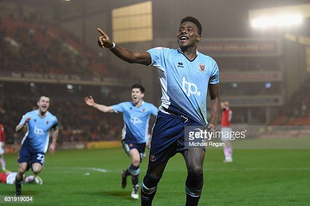 Bright OsayiSamuel of Blackpool celebrates scoring to make it 21 during the The Emirates FA Cup Third Round Replay between Barnsley and Blackpool at...