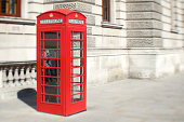 Bright Red English Telephone Booth London Street