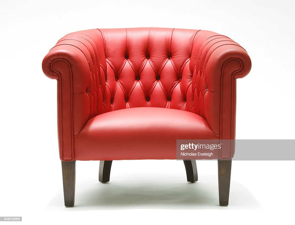 Bright red leather chair