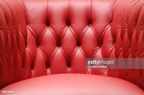 Bright red leather chair section