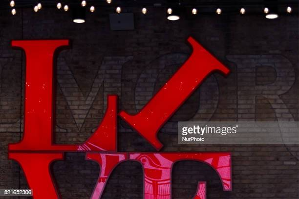 Bright red lettering inspired on Robert Indianas LOVE park statue forms a visual centerpiece at the main entrance of the Fillmore Philadelphia in the...