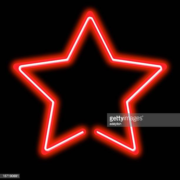 bright red neon star sign