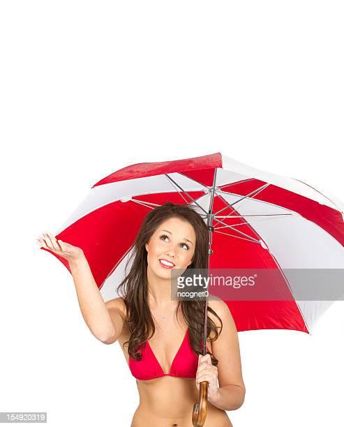 Brilhante vermelho Guarda-chuva e bela Mulher