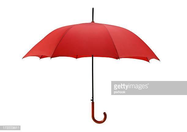 Parapluie rouge vif avec chemin