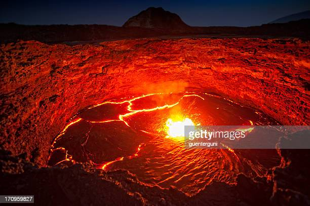 Bright red view of lava lake in Erta Ale volcano in Ethiopia