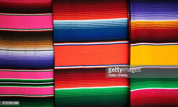 Bright 'serape' blankets for sale in Mexico