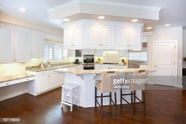 Bright Spacious Kitchen With Island, Marble Counter