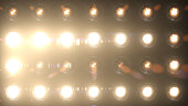 Bright stadium spotlights