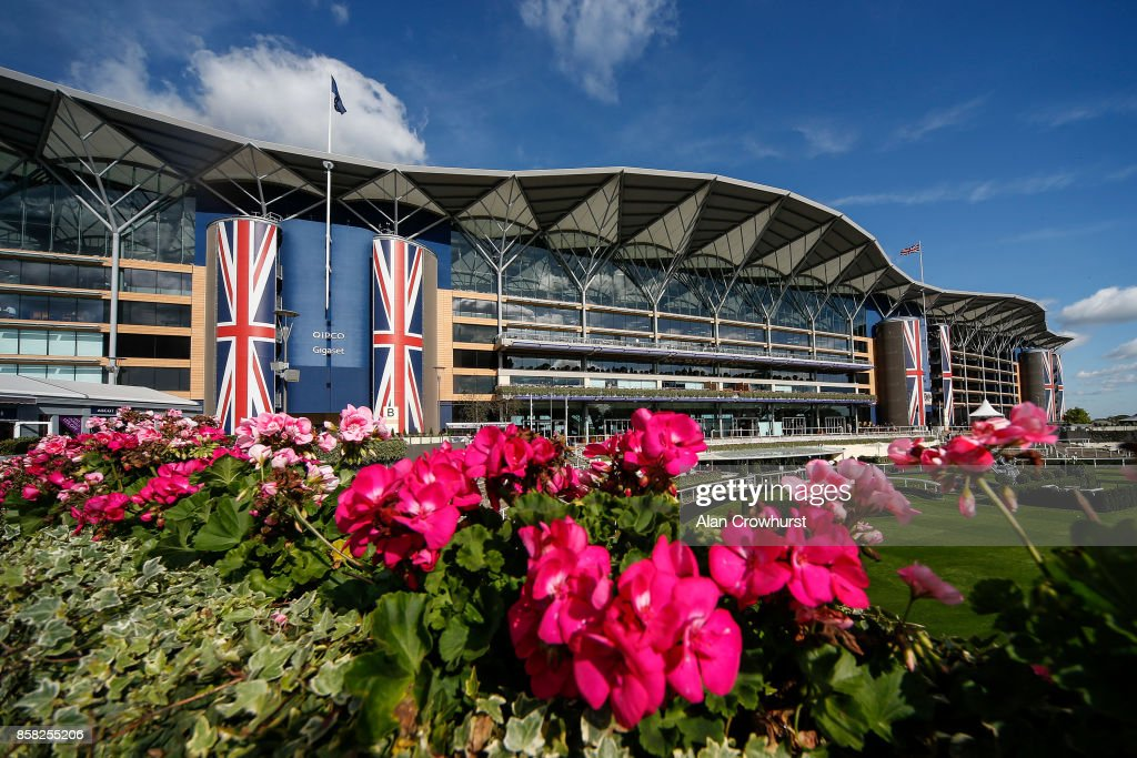 Bright sunshine and blue sky at Ascot racecourse on October 6, 2017 in Ascot, United Kingdom.