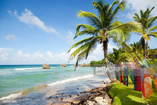 Bright tranquil beach in Barbados. Clothing drying in sun