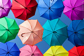 Bright, vibrant and colorful umbrellas or parasols in row pattern on blue sky background