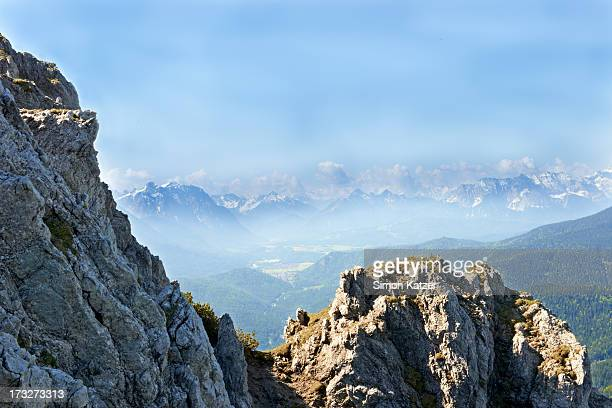 Bright view at the mountains of the Karwendel