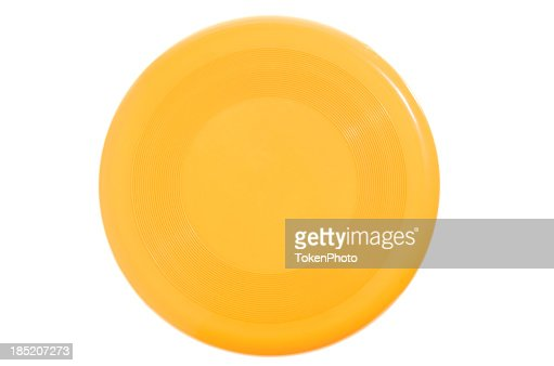 Bright yellow Frisbee on white background