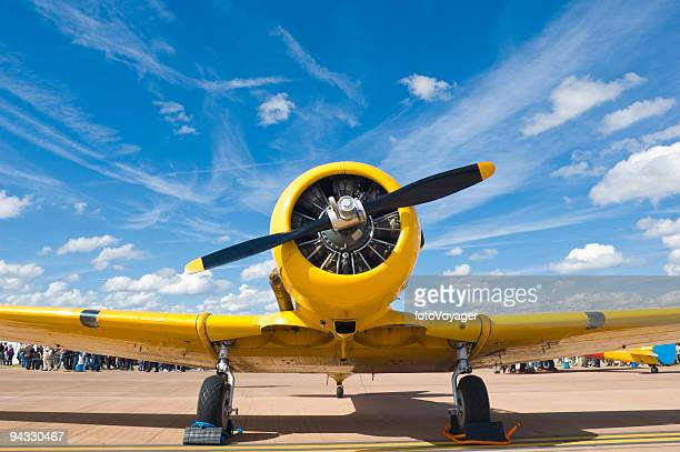 Bright yellow propellor aircraft