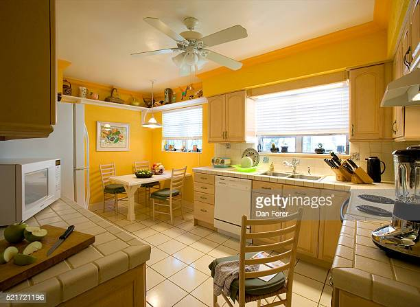 Bright Yellow Walls in Kitchen