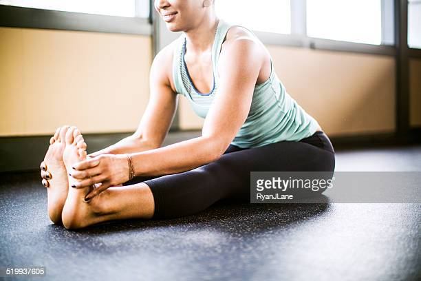 Bright Yoga Studio Woman Stretching