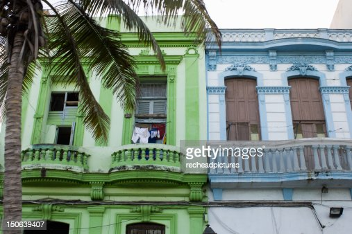 Brightly colored apartment buildings : Stock Photo