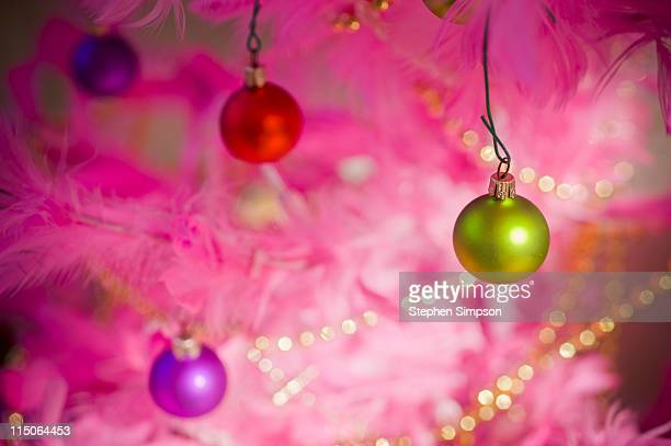 brightly colored Christmas ornaments