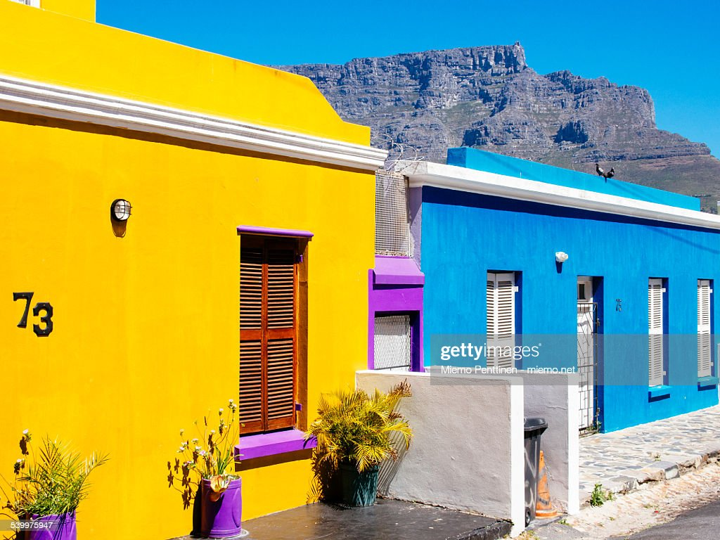 Brightly colored houses in Bo-Kaap, Cape Town : Stock-Foto