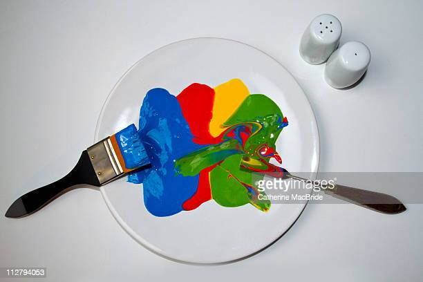 Brightly colored paint