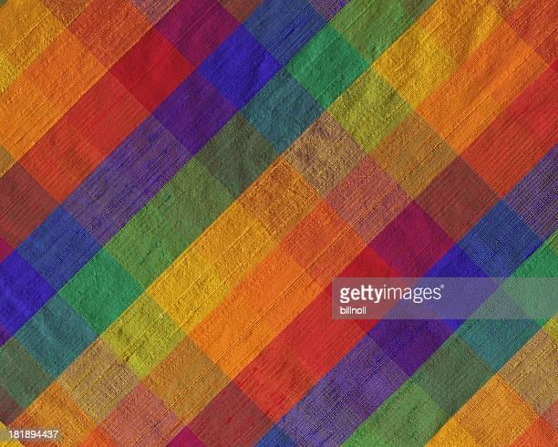 brightly colored plaid silk fabric