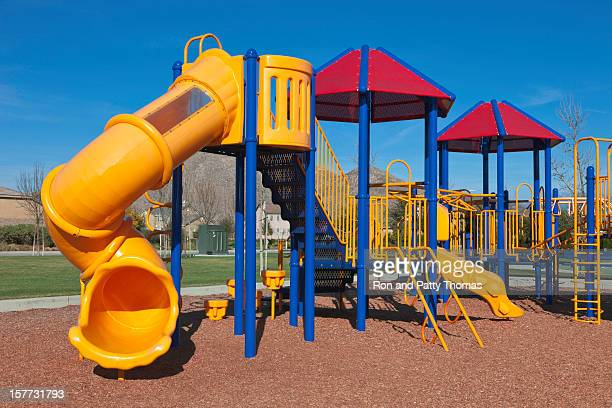 Brightly colored plastic playground in daytime