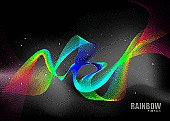brightly colored rainbow ribbons with black space background