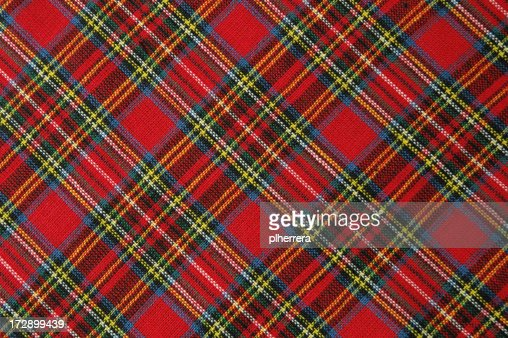 Brightly Colored Red Plaid Fabric Shot Diagonally