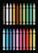 Brightly coloured crayon collection with black background