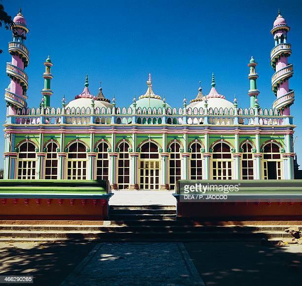 Brightly coloured facade of a mosque in Junagadh Gujarat India