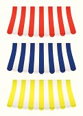 brightly coloured shop awning covers with bow effect