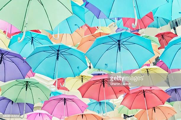 Brightly coloured umbrellas