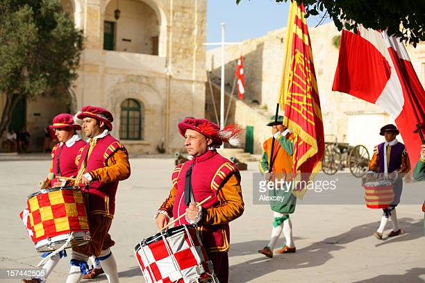 Brightly dressed Knights of Malta
