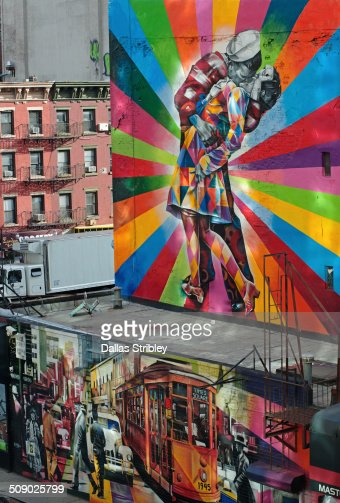 Brightly painted city walls in NYC, USA