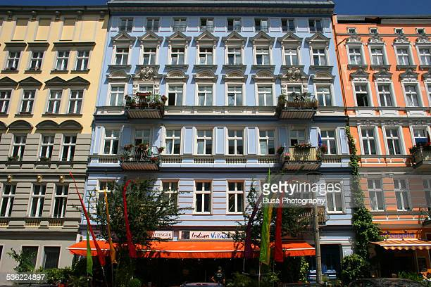 Brightly painted facades of buildings in Berlin