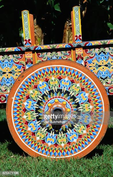 Brightly Painted Ox Cart Wheel