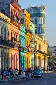 Brightly-painted buildings in Havana.