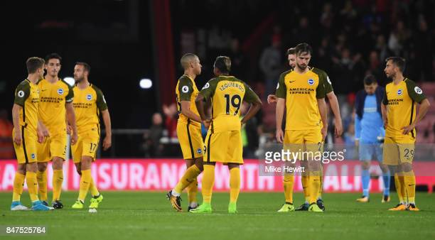 Brighton and Hove Albion players look dejected in defeat after the Premier League match between AFC Bournemouth and Brighton and Hove Albion at...