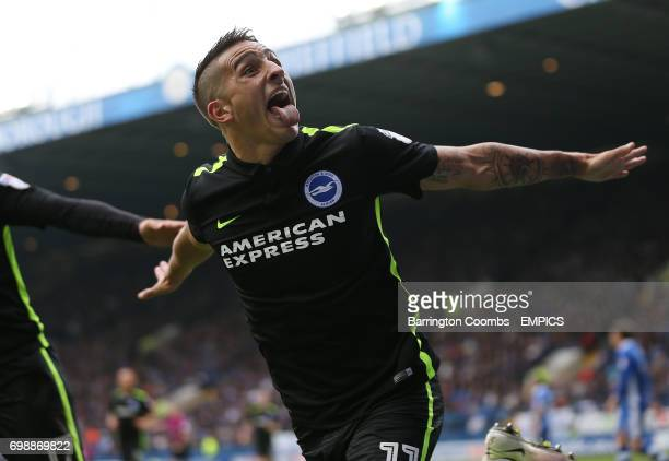 Brighton and Hove Albion's Anthony Knockaert celebrates scoring the second goal against Sheffield Wednesday