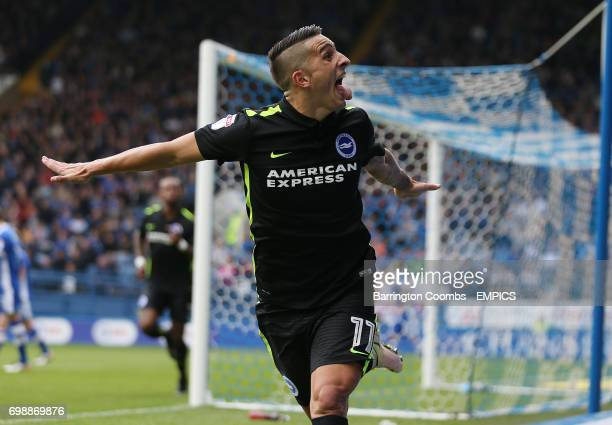 Brighton and Hove Albion's Anthony Knockaert celebrates scoring the 2nd goal against Sheffield Wednesday