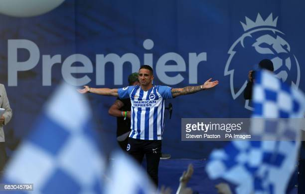 Brighton and Hove Albion's Anthony Knockaert on stage during the bus parade through Brighton