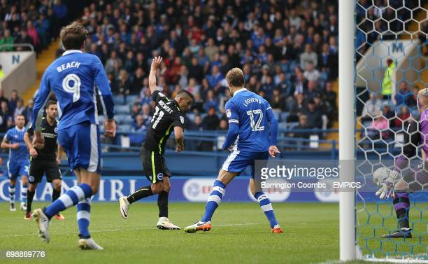 Brighton and Hove Albion's Anthony Knockaert scores the second goal against Sheffield Wednesday